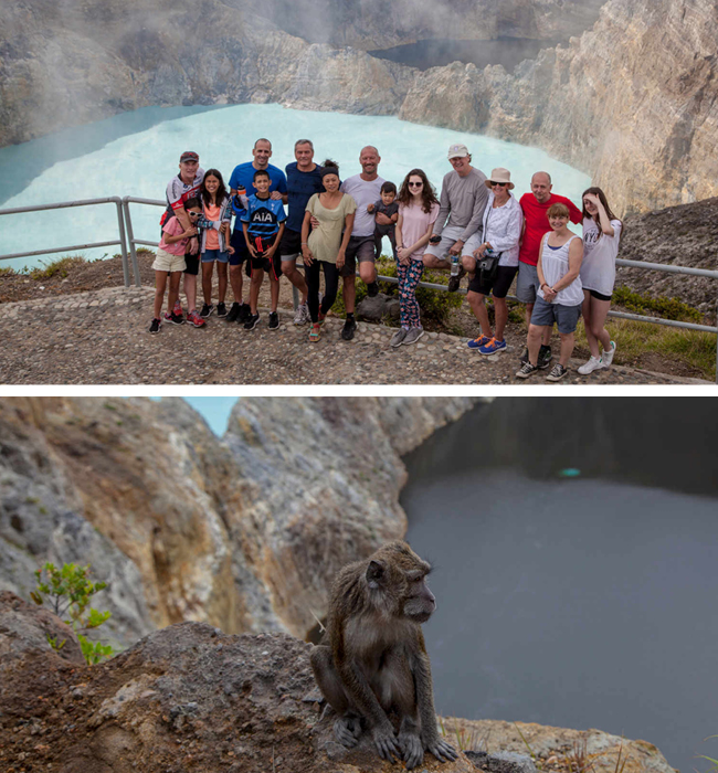 Top: The group at Kelimuto Crater lakes Botton: One of the resident monkeys hanging around the volcano