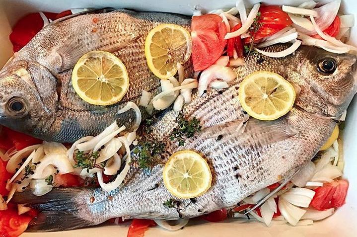 Whole baked island-style fish