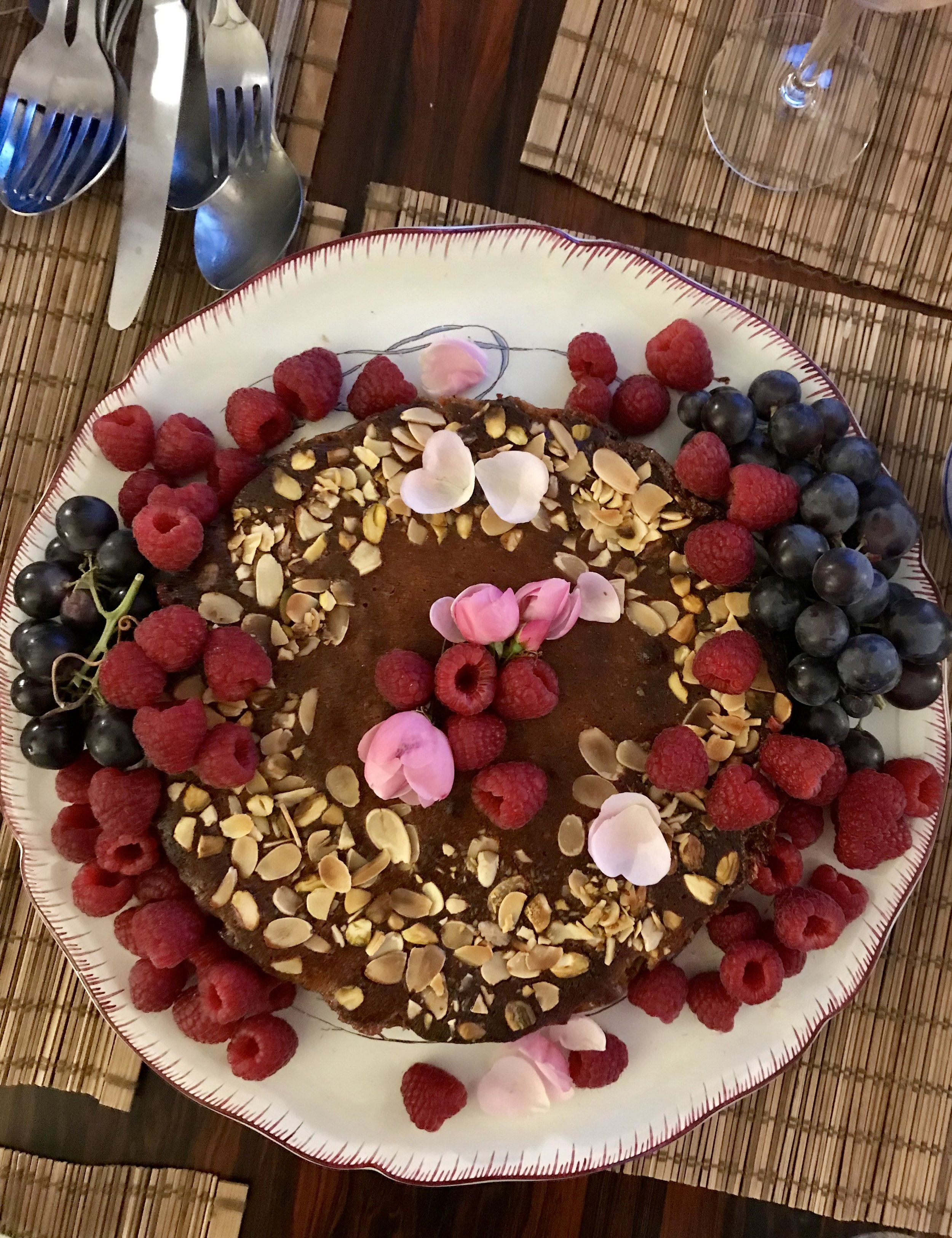 Serve with berries and rose petals for WOW!