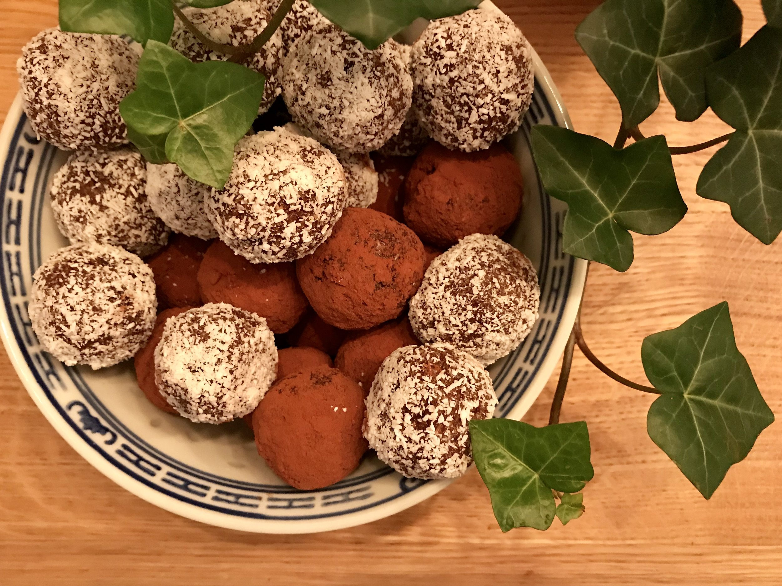 Rum balls dusted in coconut or cocoa powder