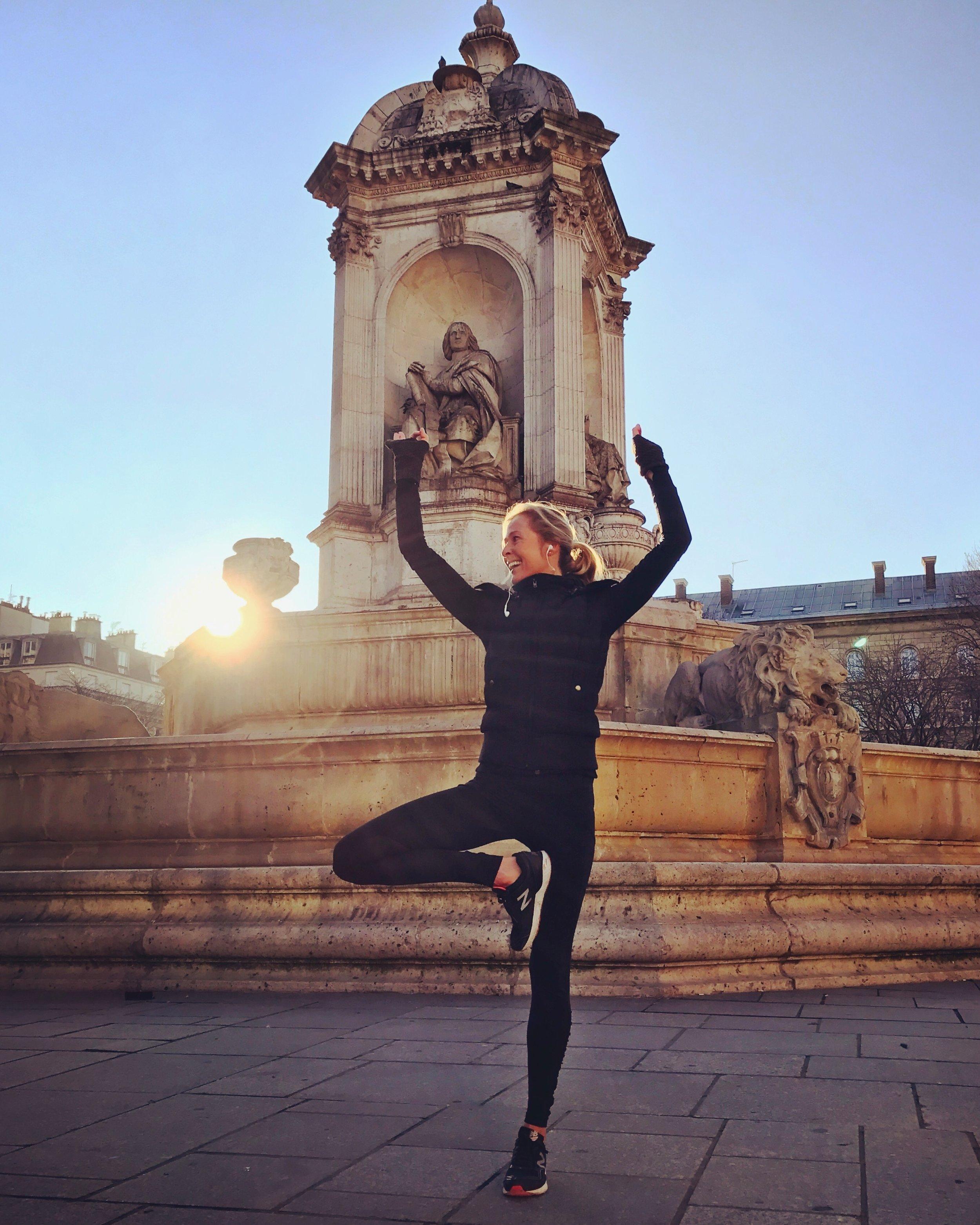 Post-run yoga stretches in minus 2 degree Celsius conditions, St Sulpice, Paris