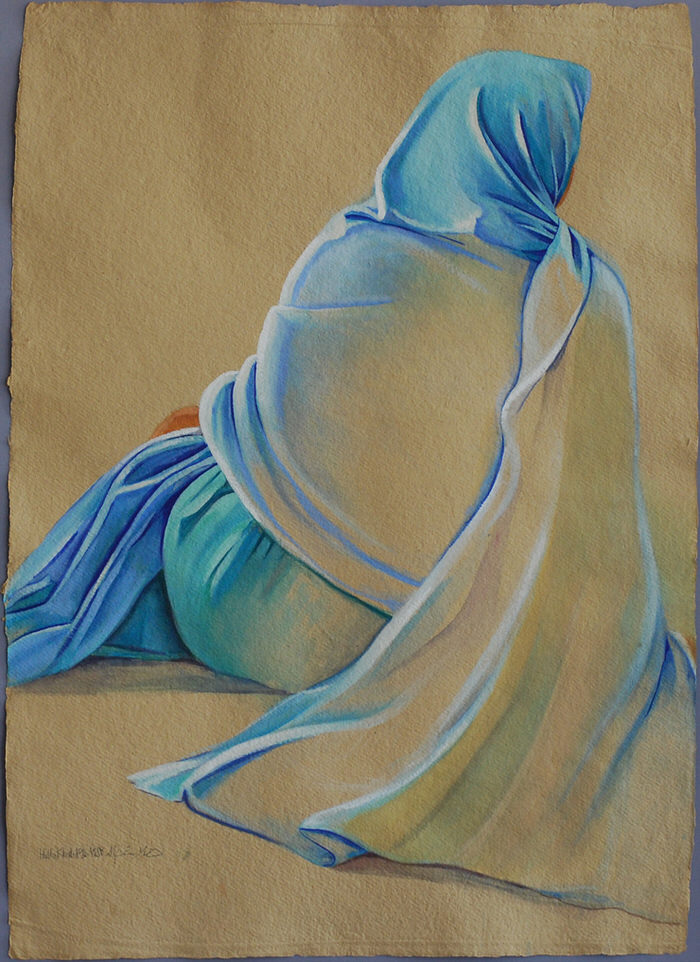 Blue Rida, 1992, Gouache on brown paper, 76 x 55 cm