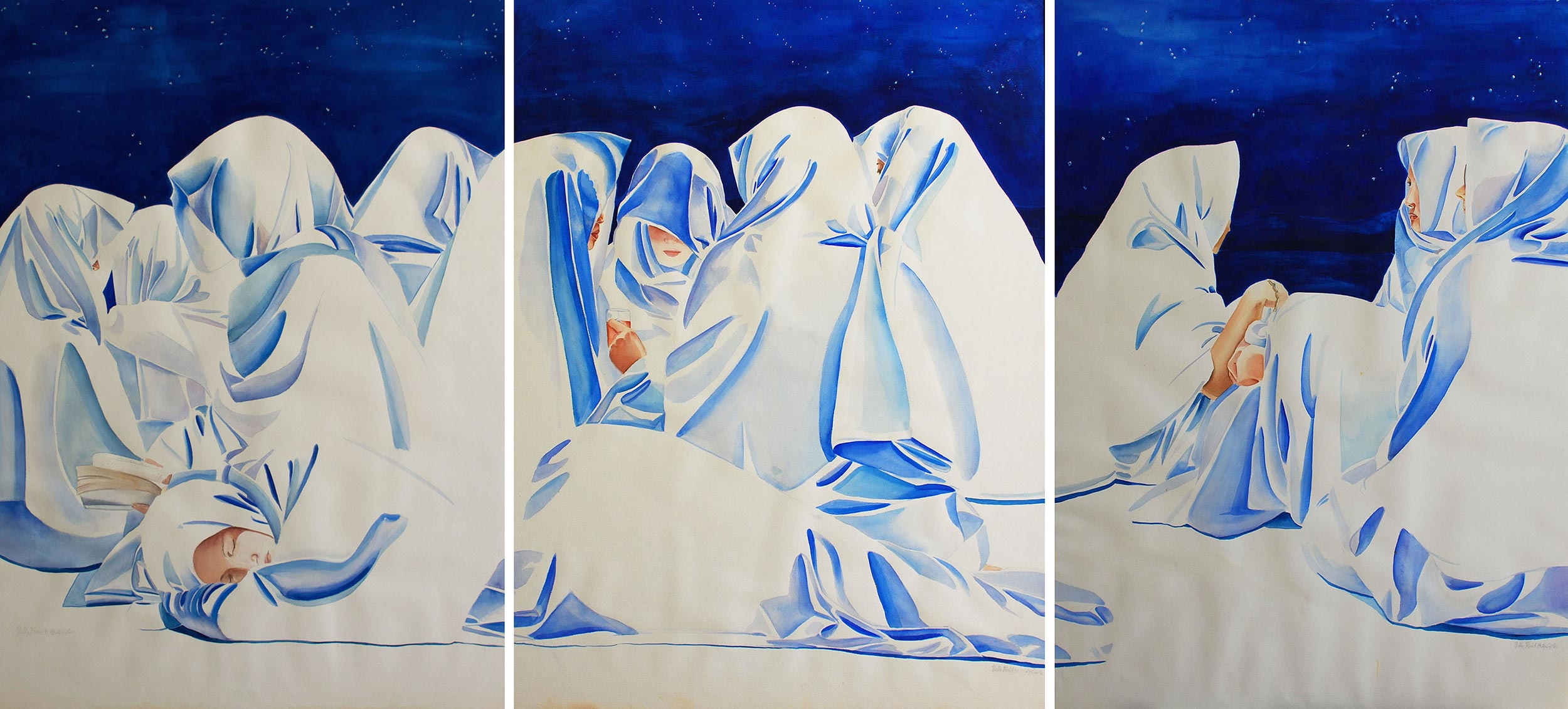 Muzdalifa Night, 1994, Watercolour & gouache on paper, 95.5 x 390 cm (triptych)
