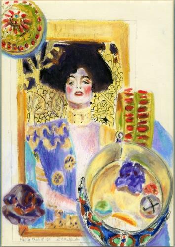 Echoing Klimt (1), 1990, Mixed media on paper, 20.5 x 14.5 cm