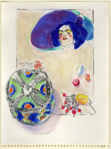 Echoing Schielle, 1990, Mixed media on paper, 22 x 18.5 cm