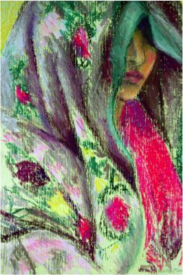 Afghan Shawl, 1989, Oil pastel on brown paper, 29 x 18 cm