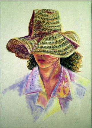 Father's Hat, 1989, Oil pastel on paper, 60 x 46 cm