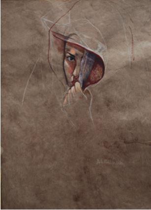 Melancholy, 1993, Gouache on brown paper, 60 x 45.5 cm