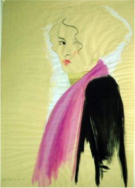 Pink shawl, 1991, Gouache on brown paper, 60 x 45.5 cm