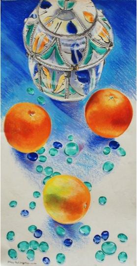 Moroccan Oranges. 2001, Mixed media on paper, 50 x 14 cm