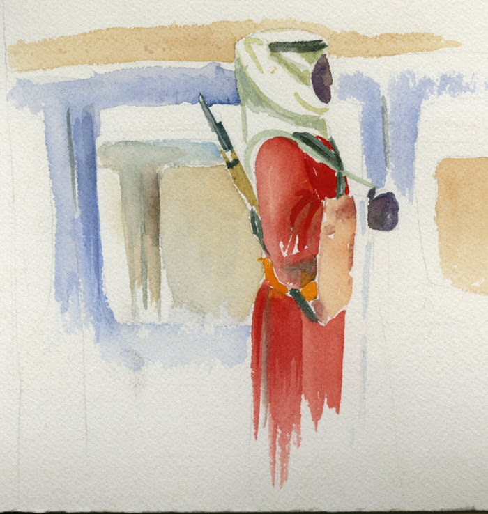Study - El Shuyookh, 1994, Watercolor on paper, 17.5 x 18 cm