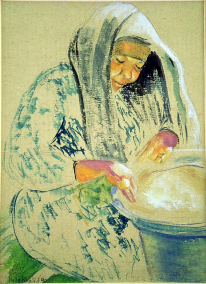 Cleaning Rice, 1990, Gouache on brown paper, 25.5 x 17 cm