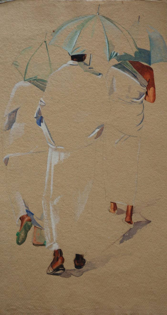Study- Three Umbrellas, 1995, Gouache on paper, 55.5 x 30.5 cm