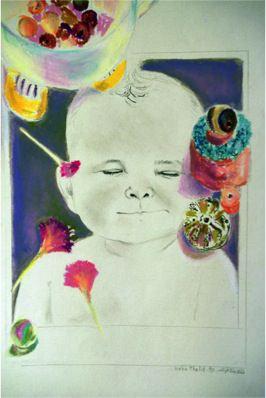 Cheeky Baby, 1990, Mixed media, 28 x 16 cm
