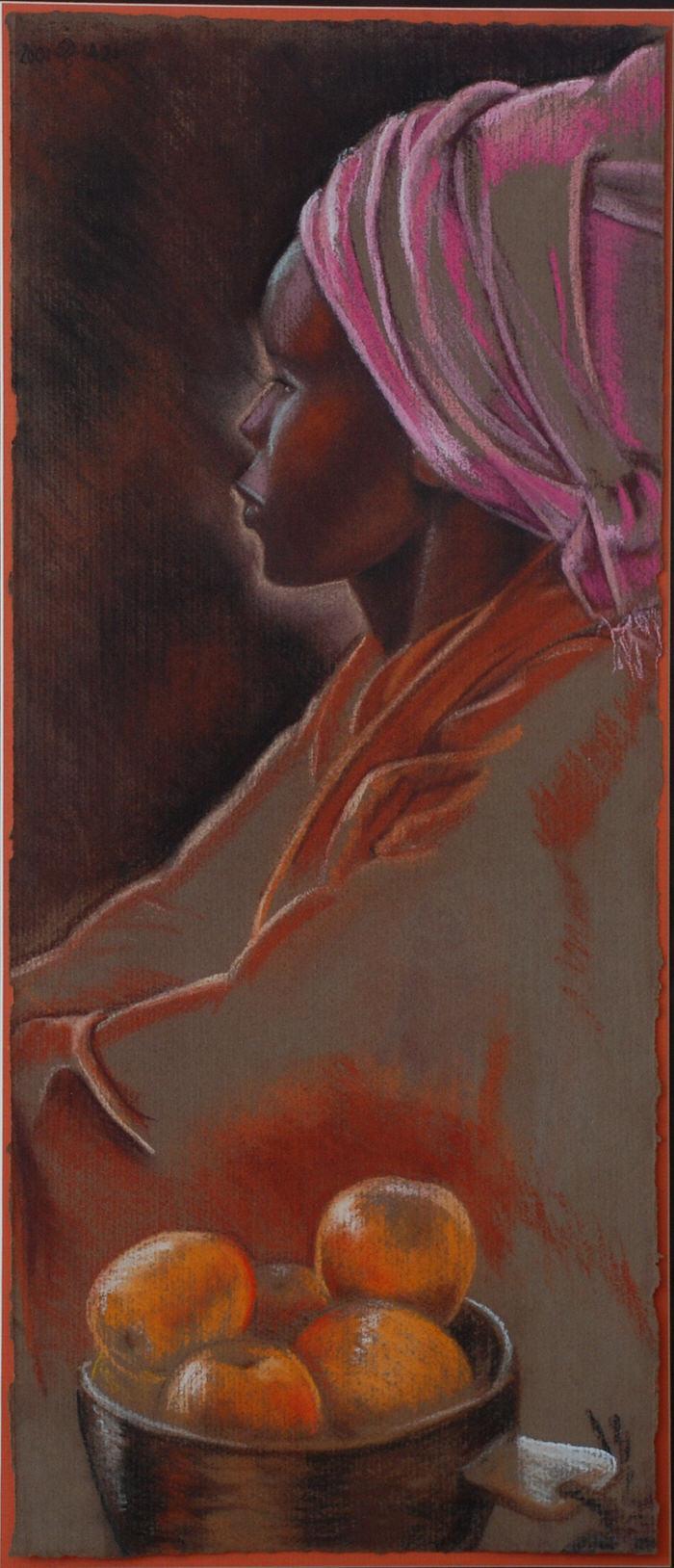 Maggi, 2001, Dry pastel, 29 x 66 cm