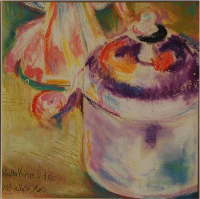 Sugar Bowl, 1990, Oil pastel on paper, 13.5 x 13.5 cm