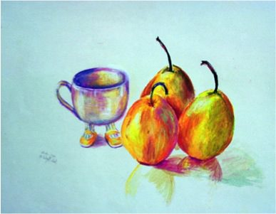 Three Pears, 1987, Oil pastel, 28 x 32 cm