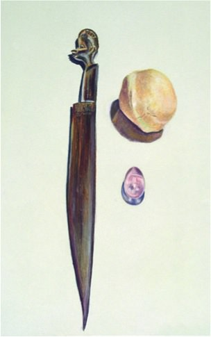 Wood, rock, crystal, 1992, oil pastel, 50 x 33 cm