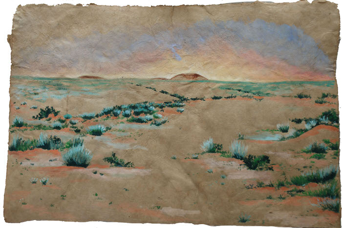 Desert Dawn, 1994, Oil pastel on paper, 34 x 49 cm