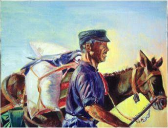 Greek Fisherman, Oil on Canvas, 23 x 29 cm