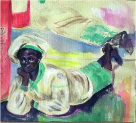 The Dreamer, 1989, Gouache on brown paper, 18 x 25 cm