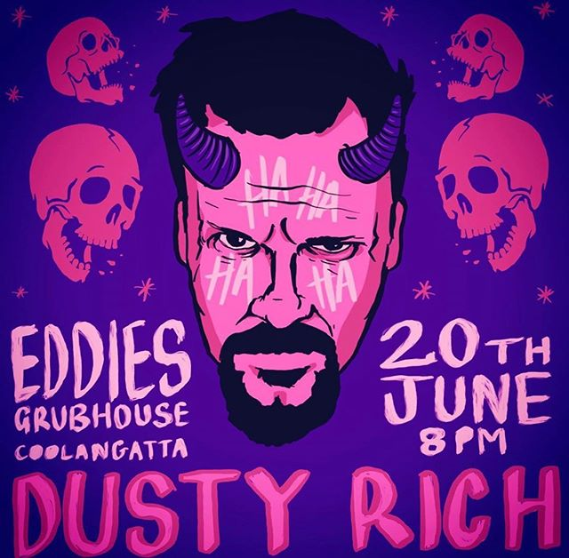 @dustyrich Tomorrow night at Eddies. Few tickets left, log onto eddiesgrubhouse.com to get yours, first in best dressed.... also log onto the hotel website @thepinkhotelcoolangatta to get a room for the night. Have some sunset cocktails before the show, a burger and noon check out on Friday.