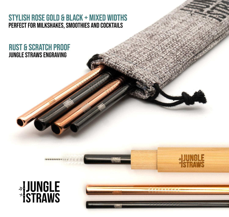 Gold /& Black Stainless Steel Straws Reusable Straw Kit
