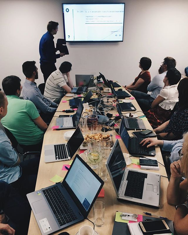 Enjoying machine learning workshop at SEB bank. A full day full of new knowledge and skills planted in the participants! • #machinelearning #datascience #Anaconda #workshop #business #businessproblems #bank