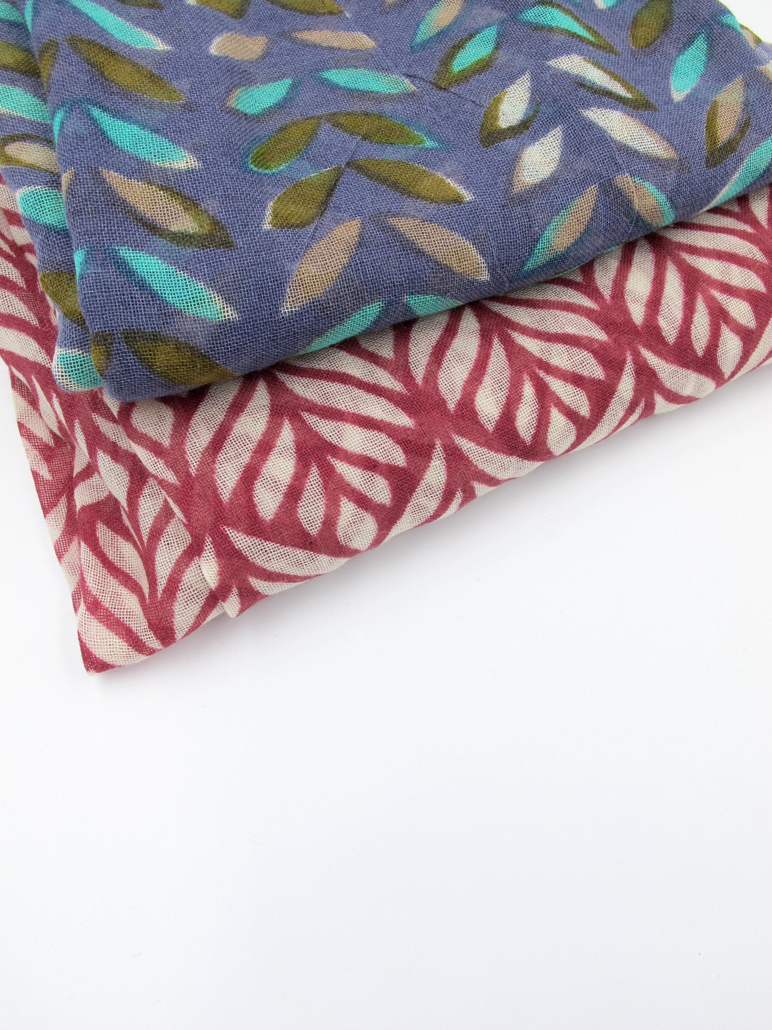 Printed fine wool scarves