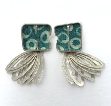 Handcrafted silver and Batik earrings from Michele Daykin