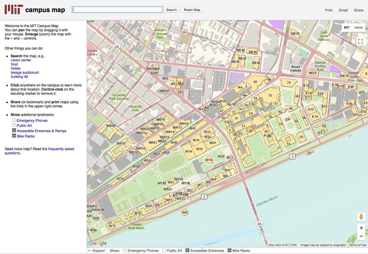 Interactive MIT Map - Click here to go to an interactive map allowing you to locate specific locations on MIT's campus.