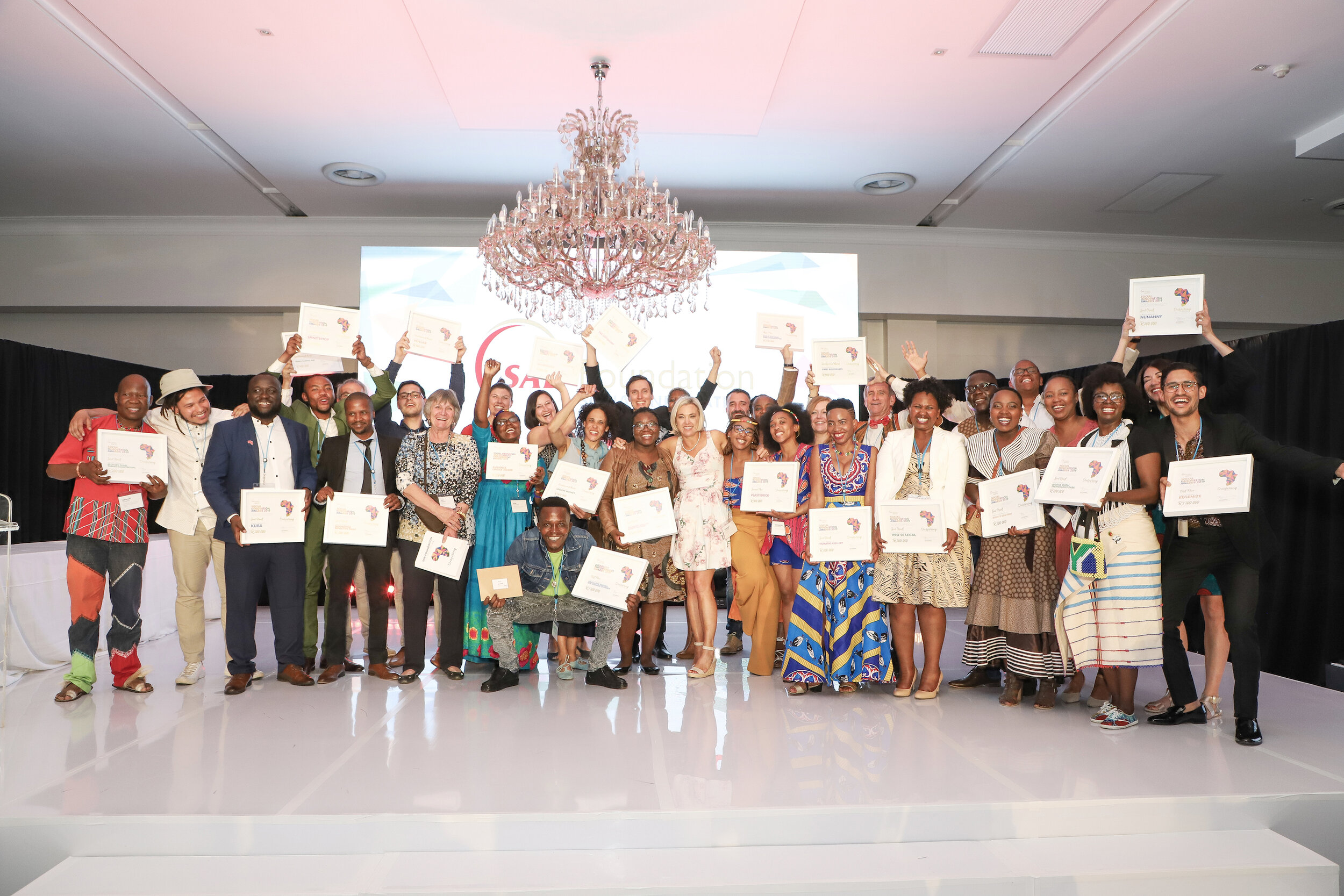 The SAB Foundation Social Innovation & Disability Empowerment Awards winners at last night's awards held in Johannesburg