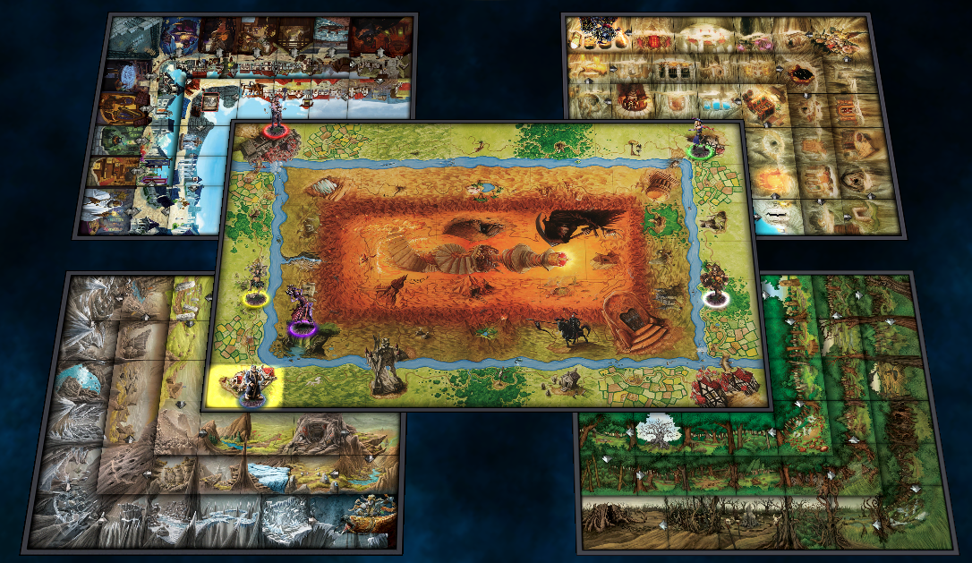 The City (top-left), The Dungeon (top-right), The Highland (bottom-left) and The Woodland (bottom-right)
