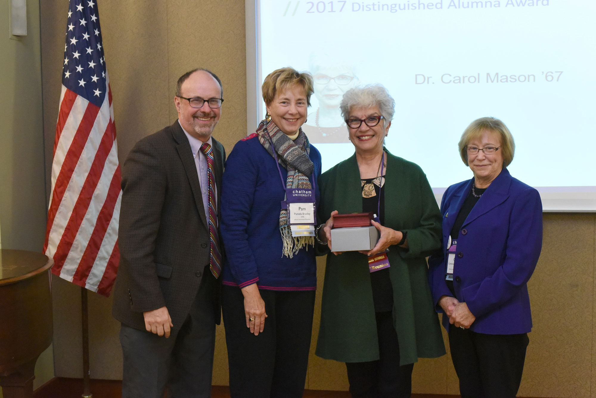 Dr. Mason, second from right, received the Distinguished Alumna Award at Reunion 2017.