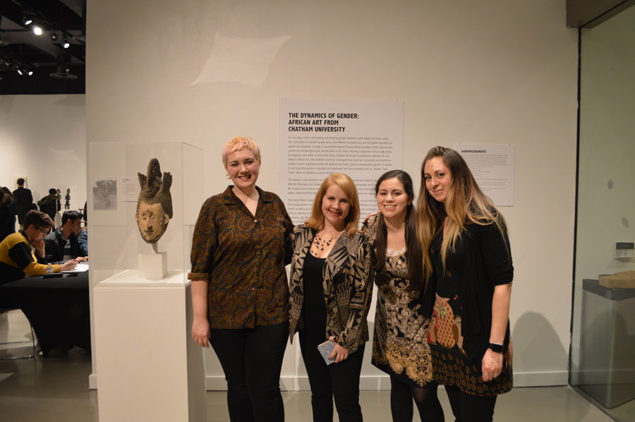 From left to right: Student curator Raven Elder, Dr. Elisabeth Roark, student curator Liz Carr, and student curator Jennifer Panza (not pictured: student curator Abigail Bennett)