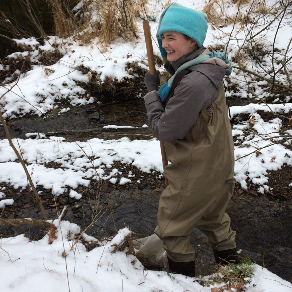 Frownfelter collects stream data for one of the qualitative ecology labs