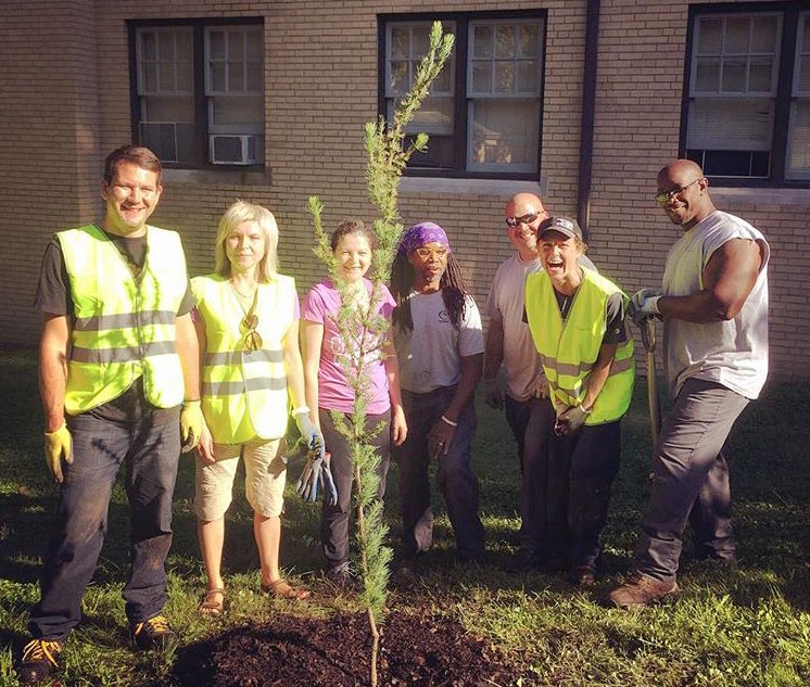(l to r) TreePittsburgh Director of Urban Forestry, Matt Erb; two visitors from Perm State University in Russia; Chatham gardeners James Rue and Mike Schneider; Kristen Spirl (second from right); Chatham gardener David Bell