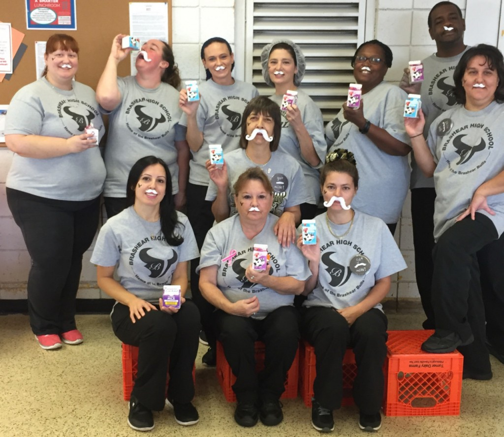 Brashear High School Food Service Employees are starting their day with the power of protein! Cafeteria Manager, Kathy Harris (center), uses the #milklife campaign to get kids to drink more unflavored milk at lunch.