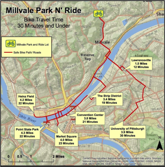 This map illustrates the biking distance and time from Millvale to various sections of the city. The Park-and-Ride proposal articulates ways multi-modal transportation can connect Millvale to the broader region in efficient and sustainable ways. © Kim Lucke & Joshua Lewis