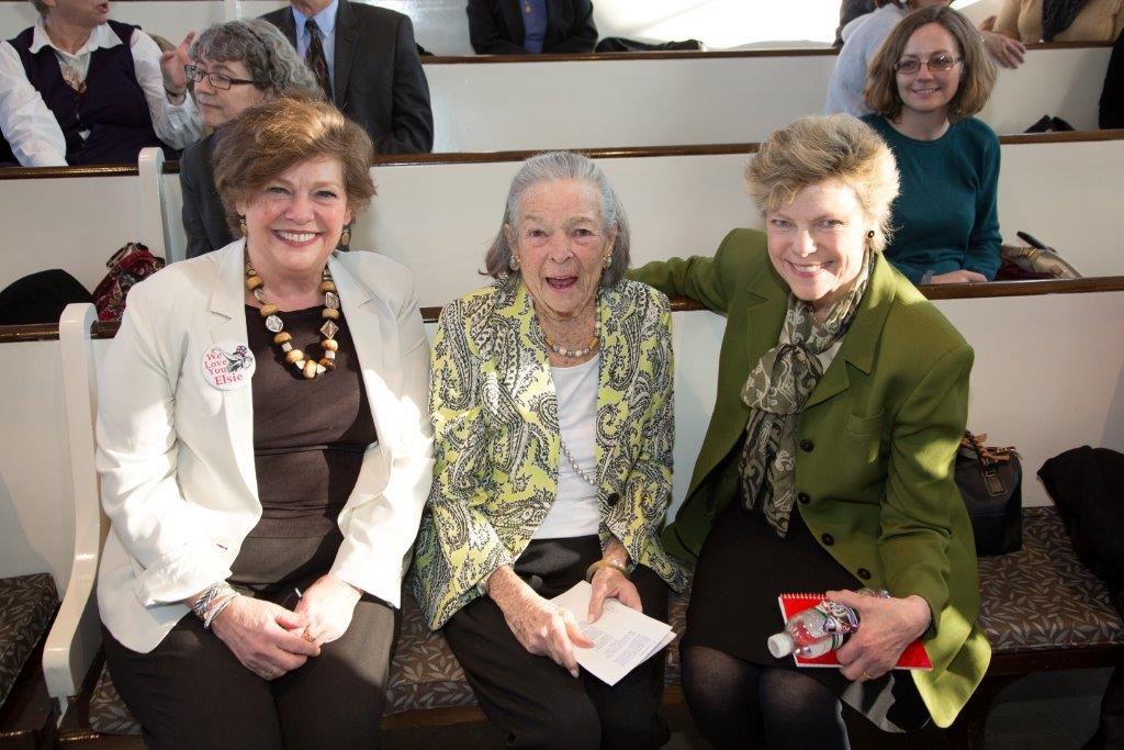 Chatham President Esther Barazzone; Elsie Hillman; and the 2015 Elsie Hillman Chair, Cokie Roberts