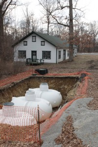 Barn and underground cistern tanks