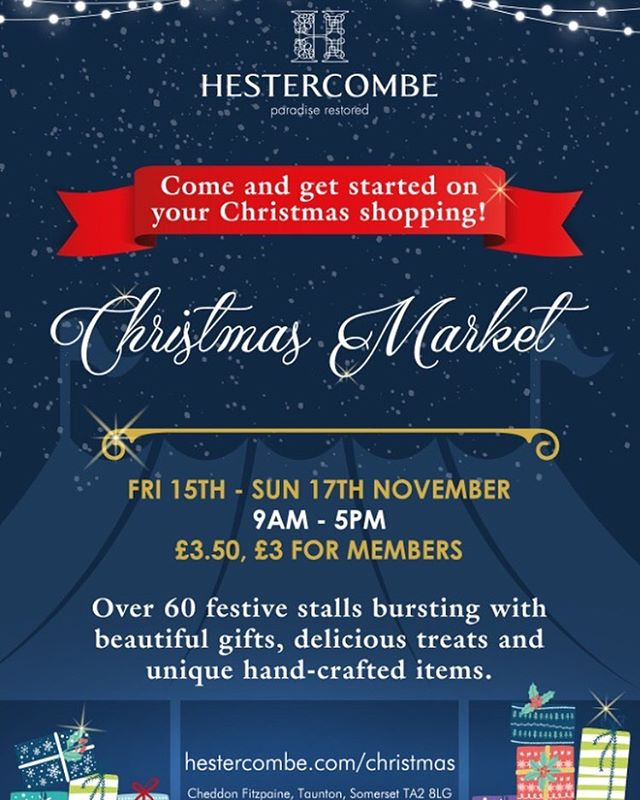 We're joining the fun at @hestercombegdns on Fri, Sat and Sun next week, come and find us! . . #christmasmarket #christmasshopping #giftsgalore #shopsmall #keepitlocal #somerset #smallbusiness #christmasgifts