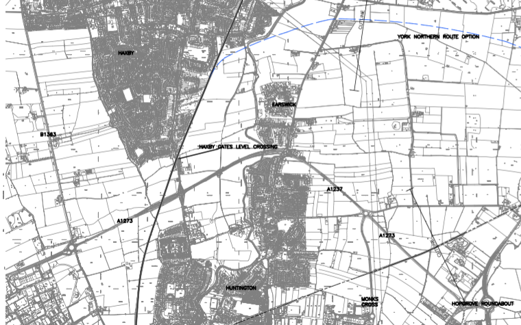 A map of the proposed route taken from the 2005 Carl Bro report, showing the alignments around Haxby in blue.