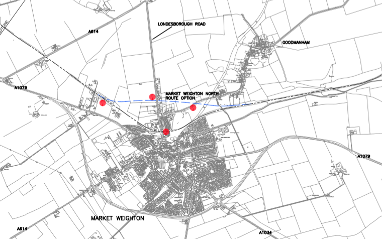 A map of the proposed route taken from the 2005 Carl Bro report, showing the alignments around Market Weighton in blue.