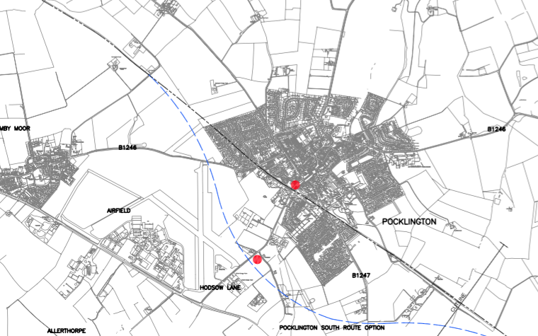 A map of the proposed route taken from the 2005 Carl Bro report, showing the alignments around Pocklington in blue.