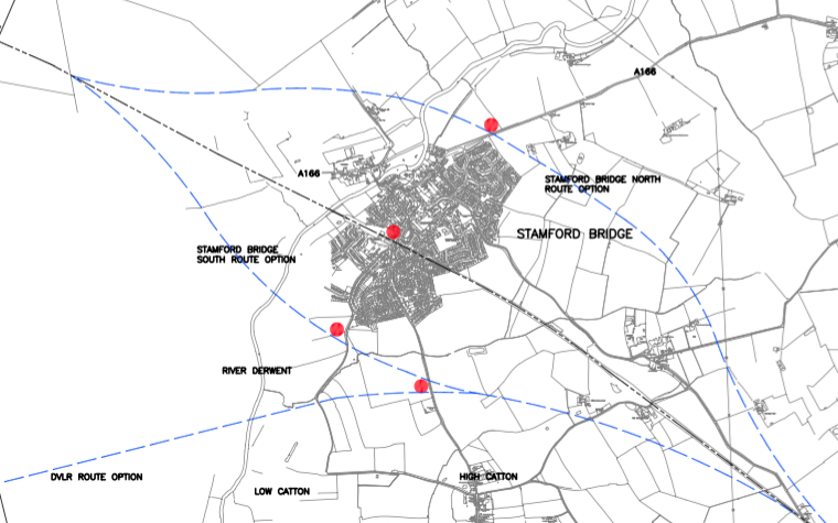 A map of the proposed route taken from the 2005 Carl Bro report, showing the alignments around Stamford Bridge in blue.