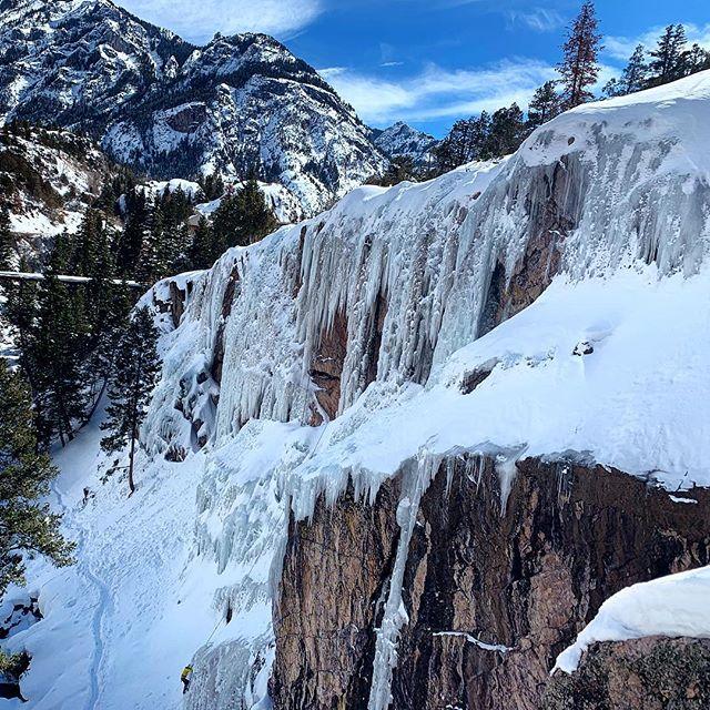 ⛏❄️⛏. Repeat x 40m. . . . #58amfi #iceclimbing #wi5 #ouraycolorado #ourayicepark #spiritofalpinism #uphillathlete #keepyourtoolssharp #goodsticks #doneinanr1