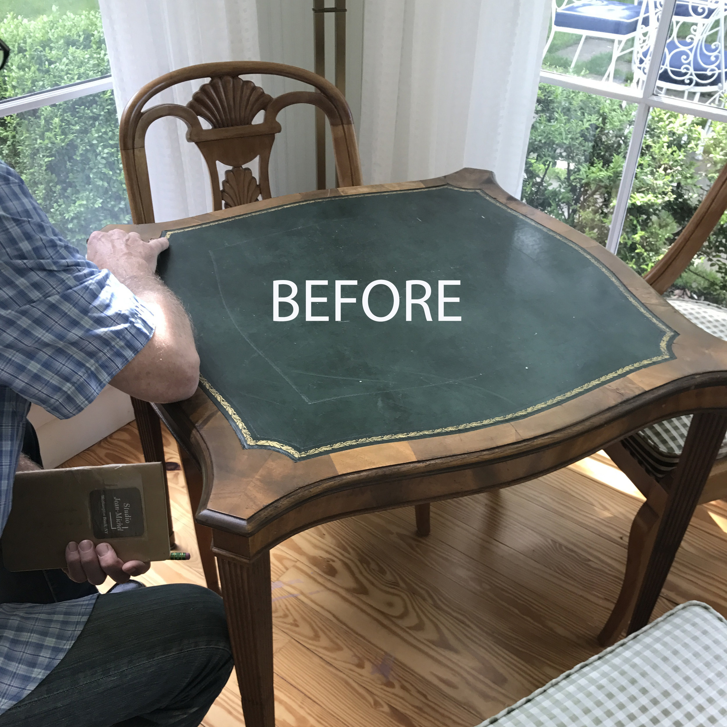 A good quality but dated bridge table needed a reinvention to fit into a bright corner of a Southampton home.