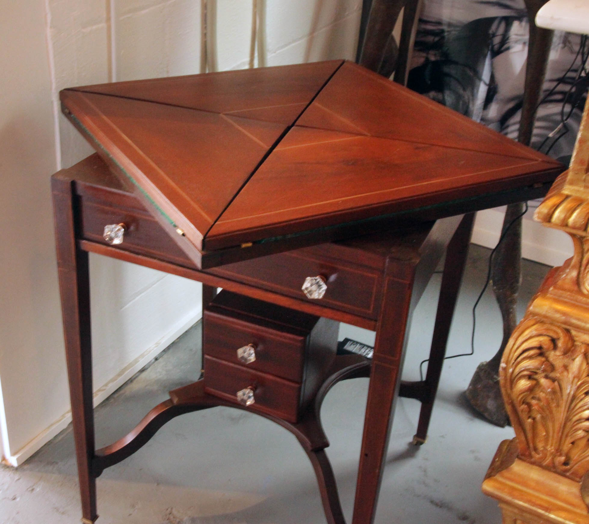 Antique Edwardian Mahogany Envelope Game Table after some loving care