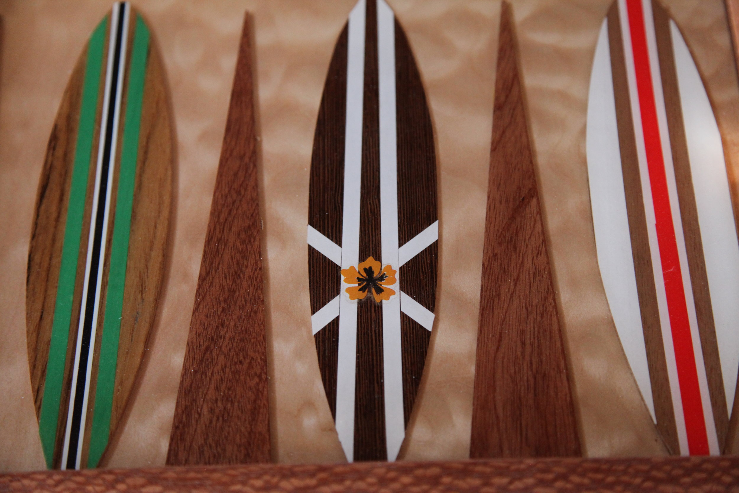 Detail of hand decorated surfboard